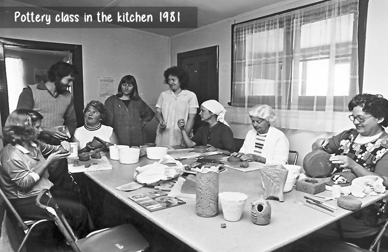 Pottery class in the kitchen 1981